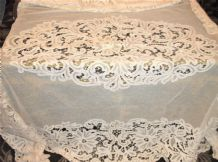 "ANTIQUE CREAMY WHITE LACY TABLECLOTH WITH OPEN WORK EMBROIDERY 64"" X  80"""